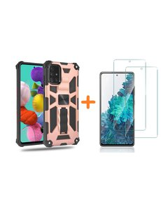 Ntech Samsung A51 Hoesje Military Grade Invisible Built-in Kickstand - Galaxy A51 Metal Plate, Anti-Scratch Shockproof Rose Goud - Screenprotector Galaxy A51-2 Pack