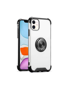 Ntech iPhone 12 / 12 Pro hoesje - Backcover met Ringhouder - Verstevigde hoeken - Transparant / Zwart