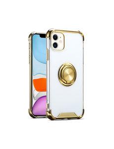 Ntech iPhone 12 / 12 Pro hoesje - Backcover met Ringhouder - Verstevigde hoeken - Transparant / Goud