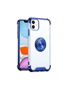 Ntech iPhone 12 / 12 Pro hoesje - Backcover met Ringhouder - Verstevigde hoeken - Transparant / Blauw