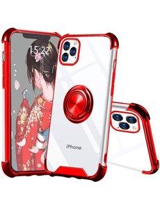 Ntech iPhone 12 / 12 Pro hoesje - Backcover met Ringhouder - Verstevigde hoeken - Transparant / Rood