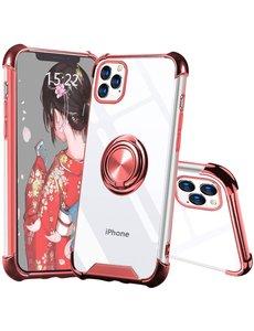 Ntech iPhone 12 / 12 Pro hoesje - Backcover met Ringhouder - Verstevigde hoeken - Transparant / Rose Goud