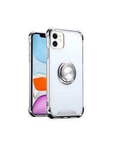Ntech iPhone 12 / 12 Pro hoesje - Backcover met Ringhouder - Verstevigde hoeken - Transparant / Zilver