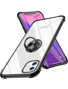 Ntech iPhone 12 Mini hoesje - Backcover met Ringhouder - Verstevigde hoeken - Transparant / Zwart