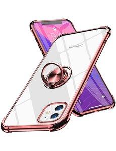 Ntech iPhone 12 Mini hoesje - Backcover met Ringhouder - Verstevigde hoeken - Transparant / Rose Goud