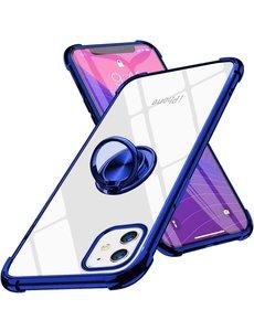 Ntech iPhone 12 Mini hoesje - Backcover met Ringhouder - Verstevigde hoeken - Transparant / Blauw