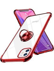 Ntech iPhone 12 Mini hoesje - Backcover met Ringhouder - Verstevigde hoeken - Transparant / Rood