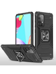 Ntech Samsung A52 Hoesje Heavy Duty Armor hoesje Zwart - Galaxy A52 Case Kickstand Ring cover met Magnetisch Auto Mount- Samsung A52 screenprotector 2 pack