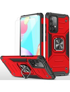 Ntech Samsung A52 Hoesje Heavy Duty Armor hoesje Rood - Galaxy A52 Case Kickstand Ring cover met Magnetisch Auto Mount- Samsung A52 screenprotector 2 pack