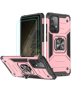 Ntech Samsung A52 Hoesje Heavy Duty Armor hoesje Rose Goud - Galaxy A52 Case Kickstand Ring cover met Magnetisch Auto Mount- Samsung A52 screenprotector 2 pack