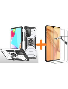Ntech Samsung A52 Hoesje Heavy Duty Armor hoesje Zilver - Galaxy A52 Case Kickstand Ring cover met Magnetisch Auto Mount- Samsung A52 screenprotector 2 pack