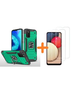 Ntech Samsung A02s Hoesje Heavy Duty Armor Hoesje Groen - Galaxy A02s Case Kickstand Ring cover met Magnetisch Auto Mount- Samsung A02s screenprotector 2 pack