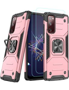 Ntech Samsung A02s Hoesje Heavy Duty Armor Hoesje Rose Goud - Galaxy A02s Case Kickstand Ring cover met Magnetisch Auto Mount- Samsung A02s screenprotector 2 pack