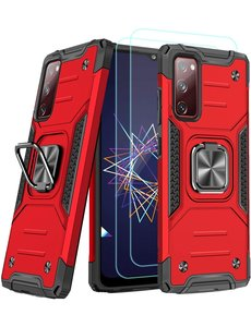 Ntech Samsung A02s Hoesje Heavy Duty Armor Hoesje Rood - Galaxy A02s Case Kickstand Ring cover met Magnetisch Auto Mount- Samsung A02s screenprotector 2 pack