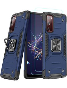 Ntech Samsung A02s Hoesje Heavy Duty Armor Hoesje Blauw - Galaxy A02s Case Kickstand Ring cover met Magnetisch Auto Mount- Samsung A02s screenprotector 2 pack