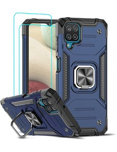 Ntech Samsung A12 Hoesje Heavy Duty Armor Hoesje Blauw - Galaxy A12 Case Kickstand Ring cover met Magnetisch Auto Mount- Samsung A12 screenprotector 2 pack