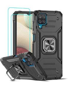 Ntech Samsung A12 Hoesje Heavy Duty Armor Hoesje Zwart - Galaxy A12 Case Kickstand Ring cover met Magnetisch Auto Mount- Samsung A12 screenprotector 2 pack