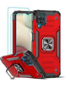 Ntech Samsung A12 Hoesje Heavy Duty Armor Hoesje Rood - Galaxy A12 Case Kickstand Ring cover met Magnetisch Auto Mount- Samsung A12 screenprotector 2 pack
