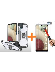 Ntech Samsung A12 Hoesje Heavy Duty Armor Hoesje Zilver - Galaxy A12 Case Kickstand Ring cover met Magnetisch Auto Mount- Samsung A12 screenprotector 2 pack