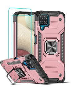 Ntech Samsung A12 Hoesje Heavy Duty Armor Hoesje Rose Goud - Galaxy A12 Case Kickstand Ring cover met Magnetisch Auto Mount- Samsung A12 screenprotector 2 pack
