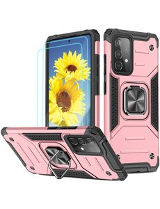 Ntech Samsung A72 Hoesje Heavy Duty Armor Hoesje Rose Goud - Galaxy A72 5G / 4G Case Kickstand Ring cover met Magnetisch Auto Mount- Samsung A72 screenprotector 2 pack