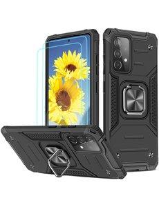 Ntech Samsung A72 Hoesje Heavy Duty Armor Hoesje Zwart - Galaxy A72 5G / 4G Case Kickstand Ring cover met Magnetisch Auto Mount- Samsung A72 screenprotector 2 pack