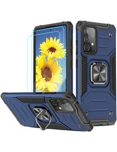 Ntech Samsung A72 Hoesje Heavy Duty Armor Hoesje Blauw - Galaxy A72 5G / 4G Case Kickstand Ring cover met Magnetisch Auto Mount- Samsung A72 screenprotector 2 pack