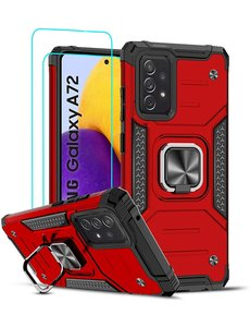 Ntech Samsung A72 Hoesje Heavy Duty Armor Hoesje Rood - Galaxy A72 5G / 4G Case Kickstand Ring cover met Magnetisch Auto Mount- Samsung A72 screenprotector 2 pack