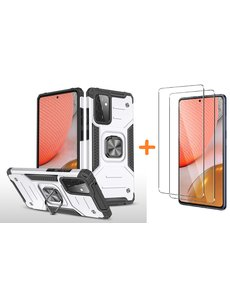 Ntech Samsung A72 Hoesje Heavy Duty Armor Hoesje Zilver - Galaxy A72 5G / 4G Case Kickstand Ring cover met Magnetisch Auto Mount- Samsung A72 screenprotector 2 pack