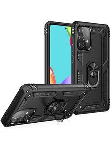 Ntech Samsung A52 Hoesje - Galaxy A52 Zwart hoesje ( 4G & 5G ) Anti-Shock Hybride Armor case Ring houder TPU backcover met kickstand