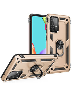 Ntech Samsung A52 Hoesje - Galaxy A52 Goud hoesje ( 4G & 5G ) Anti-Shock Hybride Armor case Ring houder TPU backcover met kickstand
