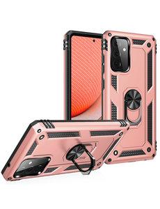Ntech Samsung A72 Hoesje - Galaxy A72 Rose Goud hoesje Anti-Shock Hybride Armor case Ring houder TPU backcover met kickstand
