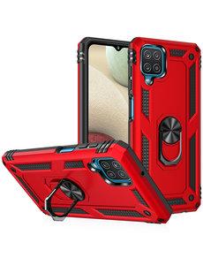 Ntech Samsung A12 Hoesje - Galaxy A12 Rood hoesje Anti-Shock Hybride Armor case Ring houder TPU backcover met kickstand
