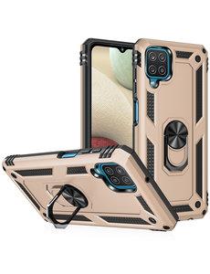 Ntech Samsung A12 Hoesje - Galaxy A12 Goud hoesje Anti-Shock Hybride Armor case Ring houder TPU backcover met kickstand