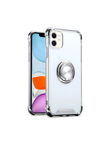 Ntech iPhone 11 hoesje silicone - iPhone 11 hoesje shock proof met Ringhouder - iPhone 11 Transparant / Zilver