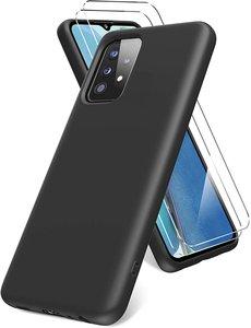 Ntech Samsung A52 hoesje - A52  5G hoesje  Silicone Zwart - Galaxy  A52 Liquid Silicone Soft Nano cover - 2pack Screenprotector Galaxy A52