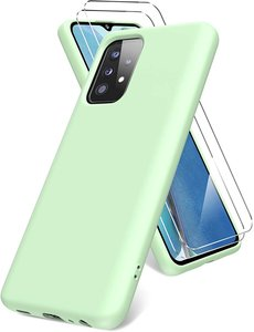 Ntech Samsung A52 hoesje - A52  5G hoesje  Silicone Groen - Galaxy  A52 Liquid Silicone Soft Nano cover - 2pack Screenprotector Galaxy A52