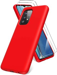 Ntech Samsung A72 hoesje - A72  5G / 4G hoesje Silicone Rood - Galaxy A72 Liquid Silicone Soft Nano cover - 2pack Screenprotector Galaxy A72