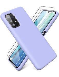 Ntech Samsung A72 hoesje - A72  5G / 4G hoesje Silicone Lila - Galaxy A72 Liquid Silicone Soft Nano cover - 2pack Screenprotector Galaxy A72