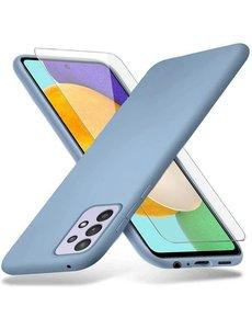Ntech Samsung A72 hoesje - A72  5G / 4G hoesje Silicone Blauw - Galaxy A72 Liquid Silicone Soft Nano cover - 2pack Screenprotector Galaxy A72