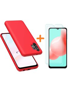 Ntech Samsung A32 hoesje - A32  5G hoesje Silicone Rood - Galaxy A32 Silicone Liquid Soft Nano cover - 2pack Screenprotector Galaxy A32 5G