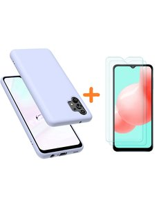 Ntech Samsung A32 hoesje - A32  5G hoesje Silicone Lila - Galaxy A32 Silicone Liquid Soft Nano cover - 2pack Screenprotector Galaxy A32 5G