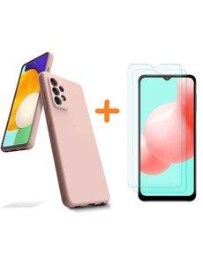 Ntech Samsung A32 hoesje - A32  5G hoesje Silicone Licht Rose - Galaxy A32 Silicone Liquid Soft Nano cover - 2pack Screenprotector Galaxy A32 5G