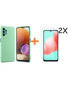Ntech Samsung A32 hoesje - A32  5G hoesje Silicone Groen - Galaxy A32 Silicone Liquid Soft Nano cover - 2pack Screenprotector Galaxy A32 5G