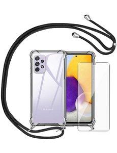 Ntech Samsung A52 Hoesje - Galaxy A52 5G hoesje transparant Shockproof Backcover met koord - Galaxy A52 screenprotector 1x