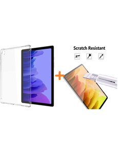Ntech Samsung Tab A7 10.4 Hoes siliconen Shockproof Hoesje - Galaxy Tab A7 2020 Silicone Schokbestendig Transparant  cover + Tab A7 Screenprotector 1x