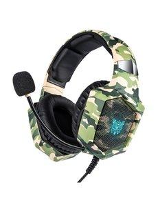ONIKUMA ONIKUMA K8-CAM, Gaming headset met microfoon, camouflage, LED's met RGB via USB, 1 x 3,5 mm-aansluiting en 50mm element, kabelbesturing, bedraad – groen, geel