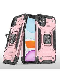 Ntech iPhone 11 Hoesje - Heavy Duty Armor hoesje Rose Goud - iPhone 11 silicone TPU hybride hoesje Kickstand ringhouder met Magnetisch Auto Mount