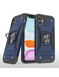 Ntech iPhone 11 Hoesje - Heavy Duty Armor hoesje Donker Blauw - iPhone 11 silicone TPU hybride hoesje Kickstand ringhouder met Magnetisch Auto Mount