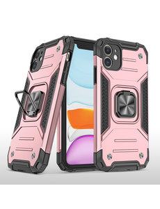 Ntech iPhone 11 Pro Hoesje - Heavy Duty Armor hoesje Rose Goud - iPhone 11Pro  silicone TPU hybride hoesje Kickstand ringhouder met Magnetisch Auto Mount